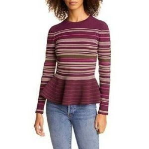 Ted Baker London Leytina Stripe Peplum Sweater